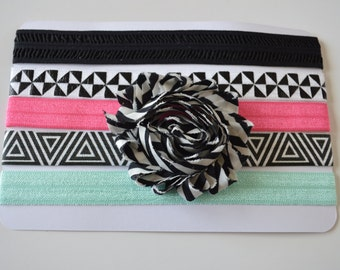 Baby/Girls Set of 5 Elastic Headbands - Black, White, Pink, Aqua Headbands - Geometric Headbands - Toddler Headbands - Girls Headbands