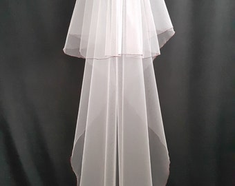 White Wedding Veil, Two Layers, Maroon Colored Edging.