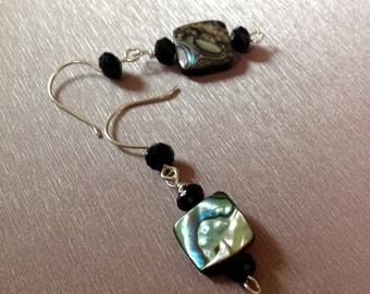 New Zealand Abalone / Dangle Earrings / Swarovski Crystal / Green / Black / Mother of Pearl / Sterling Silver / Trending
