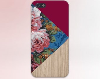 Geometric Floral Print x Red Wood Design Case for iPhone 6 6 Plus iPhone 7  Samsung Galaxy s8 edge s6 and Note 5  S8 Plus Phone Case