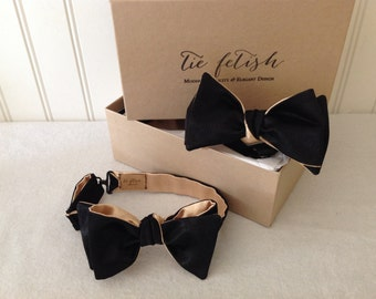 Father and son reversible gold and black satin freestyle or self tie bow tie set