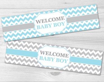 Water Bottle Label - DIY Printable Baby Shower Label: baby boy, blue, chevron, grey