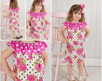 Rose Peasant Dress, Summer dress,Girl Rose Dress