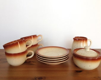 Vintage Franciscan cream and sugar set stoneware mugs and saucers