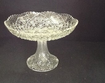 Pressed Glass Compote Dish, Footed Dish, details