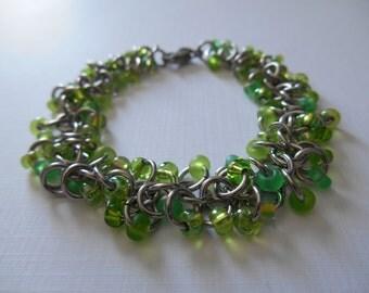 Green Beaded Bracelet - Key Lime Beaded Shaggy Loops Stainless Steel Chain Maille Bracelet