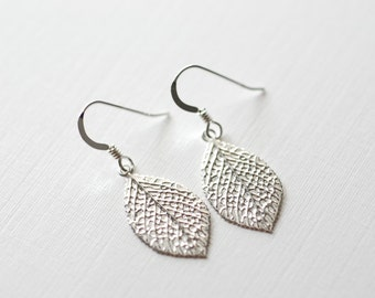 Sterling Silver Leaf Earrings - Sterling Silver Leaf Dangle Earrings, Sterling Silver Flower Earrings, dainty jewelry by heirloomenvy