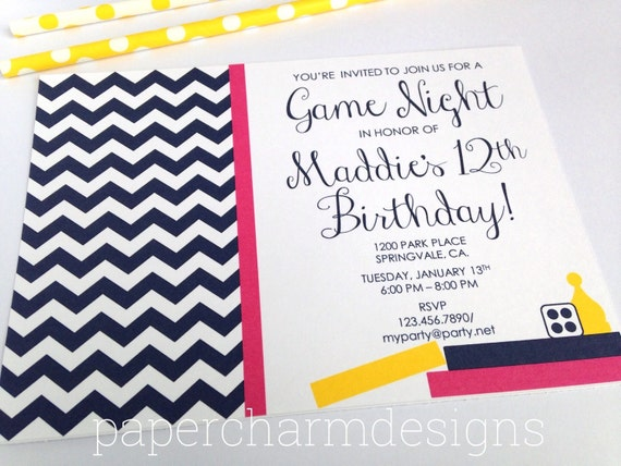 PRINTABLE Game Night Party Invitation, 5 x 7-inches