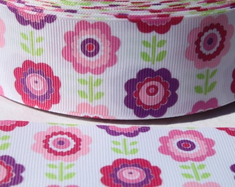 1.5 Inch Flower Grosgrain Ribbon - Grosgrain Ribbon by the Yard for Hairbows, Scrapbooking, and More!!