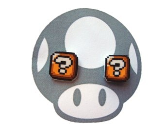Mario Brothers Question Block Earrings