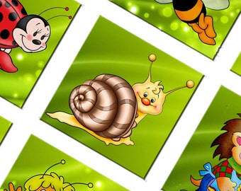 Digital Collage Sheet Fairy-Tale Characters 1x1 inch size images for printing Original Square  147