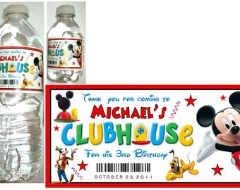 20 MICKEY MOUSE CLUBHOUSE birthday party water bottle labels ~ glossy ~ waterproof ink
