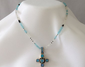 Sterling Silver Opal Cross Pendant- Beaded Necklace with Inlaid Faceted Heart Gemstone