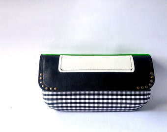 Black, white and green clutch. Leather and fabric crossbody bag. Shoulder bag with chain and studs, handmade in Italy.