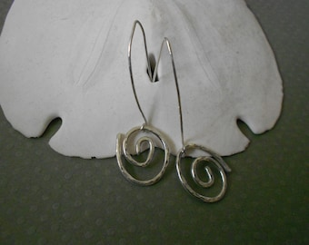 Silver Spiral Earrings - Simple Small Dangle Spirals of Sterling Silver