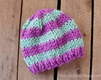 Striped Hat Newborn, Newborn Knit Hat, Alpaca Hat, Photo Prop, Newborn Hat, Newborn, Knit Hat, Seafoam Hat, Newborn Stripe Hat