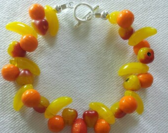 Fruit bracelet made from Czech glass beads, with sterling silver clasp.