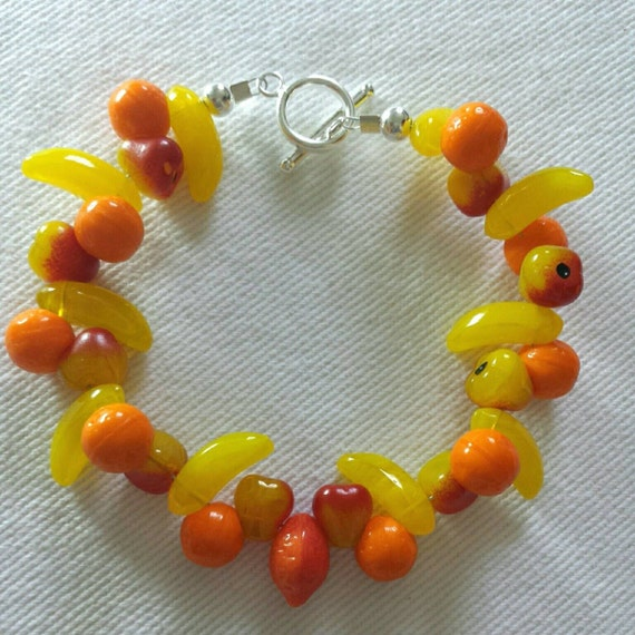 Fruit bracelet made from czech glass beads with sterling