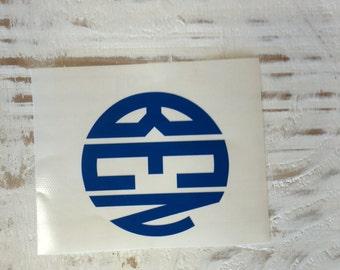 Circle Monogram Vinyl Sticker/Decal