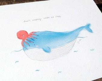 Kids room art. Nursery room decor. Whale illustration art print