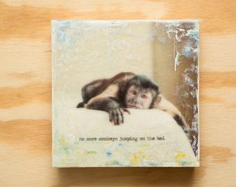 Monkey Photo Encaustic Original Art 8x8