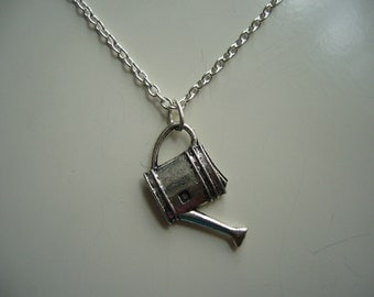 Watering Can Necklace - Gardening Necklace - Antique Silver Watering Can Necklace - Watering Can Pendant Necklace- Nickel Free