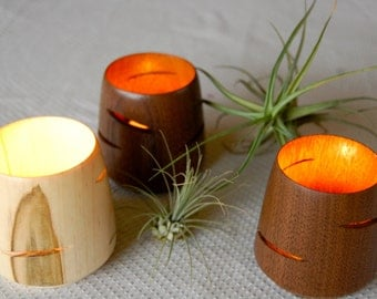 Candle Holder, Wood, Modern, Luminary, Candles, Votive, Candle, Tea light, Wedding, Reclaimed wood,