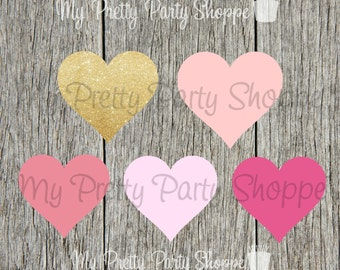 5 Piece Set Shades Of Pink & Gold Glitter Heart Clipart / Graphic *INSTANT DOWNLOAD*