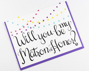 Will You Be My Matron of Honor Card, Matron of Honor Card, Bridal Party Card, Wedding Card