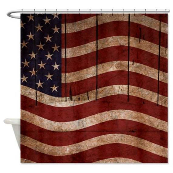 shower curtain americana rustic primitive flag on by folkandfunky