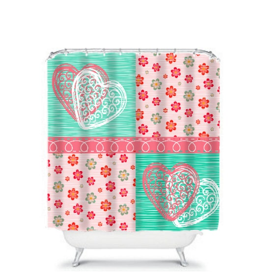 Shower Curtain Teal And Corals Floral Patchwork By FolkandFunky