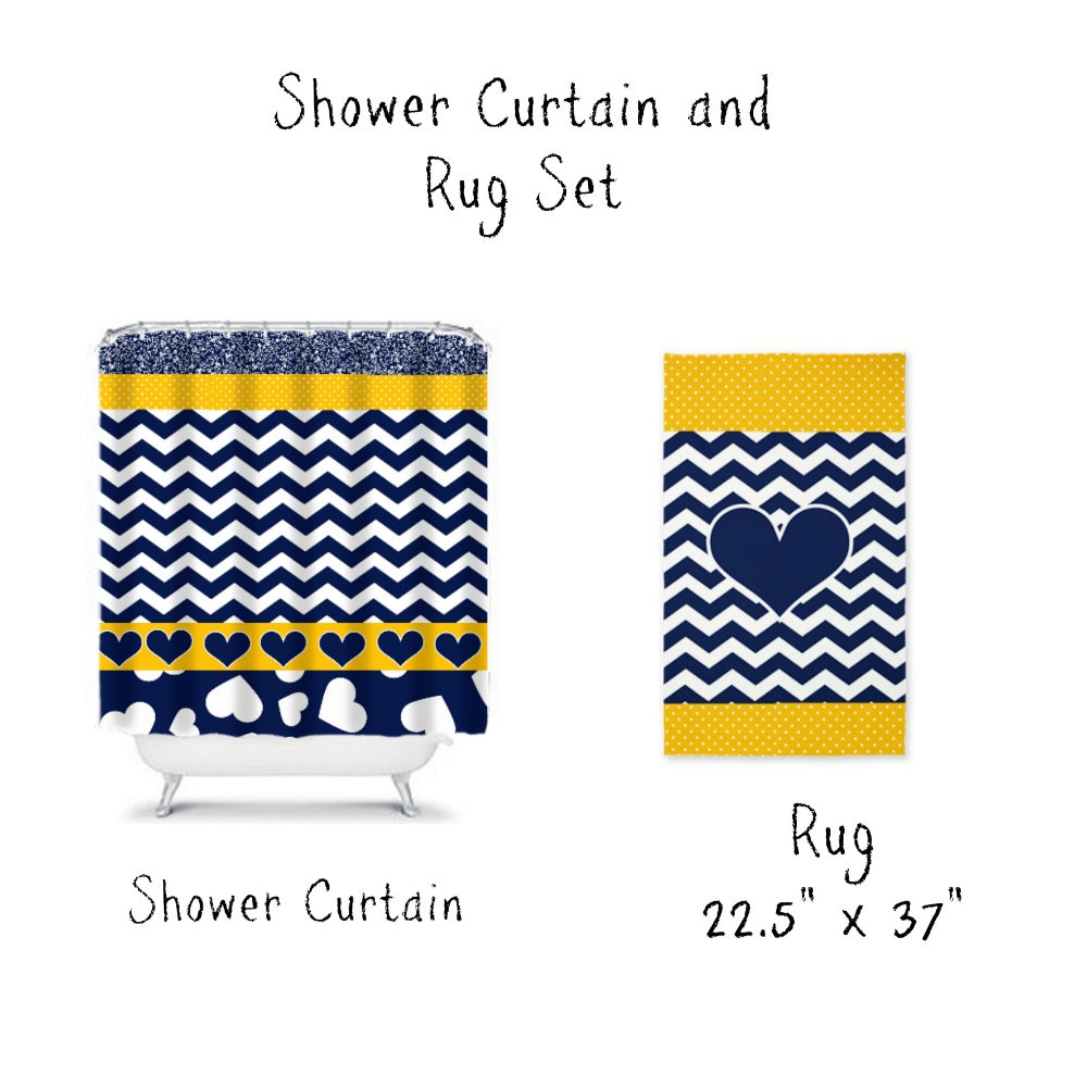 Chevron Navy Blue Yellow Shower Curtain and Rug by FolkandFunky