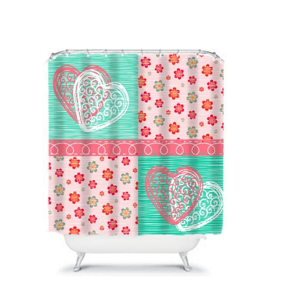 Shower Curtain Teal And Corals Floral Patchwork By
