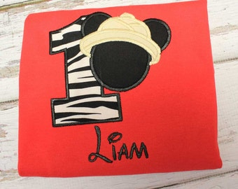 Safari Mickey Birthday Number Applique T shirt Onesie, Second Birthday,Third Birthday