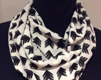 Black and White Chiffon Cowl, loop scarf, circle scarf, women silky cowl,