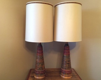 Pair of FAIP Chalkware Table Lamps w/ Original Shades