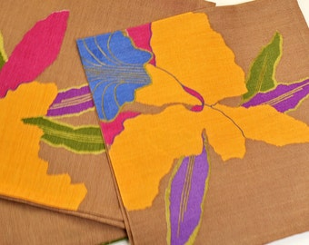 Napkins Orchids on Brown Cotton Set of 4