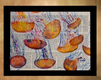 Jellyfish Swarm Dictionary Art Print Orange Marine Life Wall Art Home Decor Octopus Upcycled Book Nursery Art da672