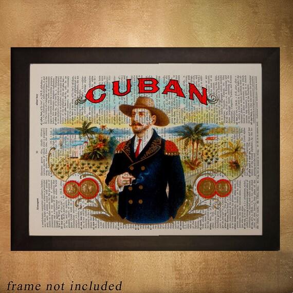 Cigar Box Wall Art: Cuban Cigar Box Label Dictionary Art Print Cuba Tobacco Wall
