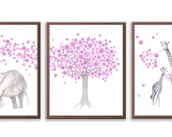 Elephant Nursery Decor, Baby Girl Nursery, Pink Purple Nursery, Watercolor Nursery art, Elephant and Giraffe, Set of 3 Prints - S024W