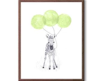 Baby Zebra Watercolor, Baby Nursery Decor, Zebra Nursery Art, Green and Gray Nursery, Safari Animal Art, Kids Wall Art, Z108WN