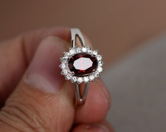 Natural Red Garnet Ring January Birthstone Ring Sterling Silver Ring Promise Ring For Her