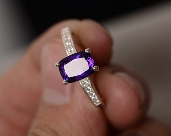 Natural Purple Amethyst Ring Cushion Cut Ring February Birthstone Ring Gift For Her