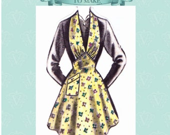 1940s pretty shaped utility apron sewing pattern- full size paper pieces