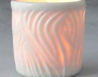 Carved Translucent Porcelain Tea Light Holder