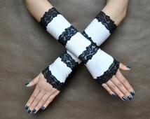 Elegant Lolita harajuku sweet Burlesque Glamour long GLOVES white fabrick and black lace
