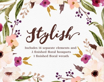 Watercolour Floral Clip Art-Stylish//Separate PNG files/Hand Painted