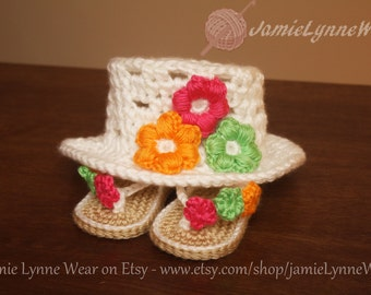 Baby Girl Flip Flops and Flower hat - Made to order