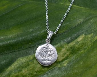 925 Sterling Silver Evergreen Tree Pendant Necklace 16 inches or 18 inches