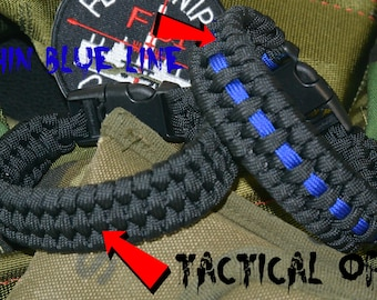 Police Thin Blue Line or Black Tactical Paracord Bracelet with Hidden Concelealed Handcuff Key